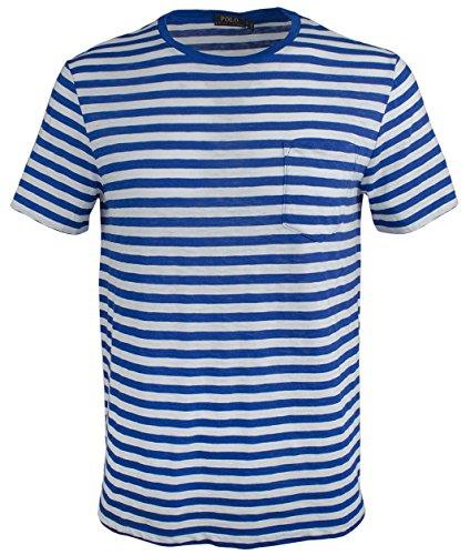 Polo Ralph Lauren Men's Striped Cotton Jersey Crewneck Pocket T-Shirt, Sapphire Star/White (Large)