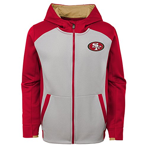 Apparel 49ers Boys Francisco San - Outerstuff NFL San Francisco 49ers Kids & Youth Boys Hi Tech Performance Full Zip Hoodie, Crimson, Youth Medium(10-12)