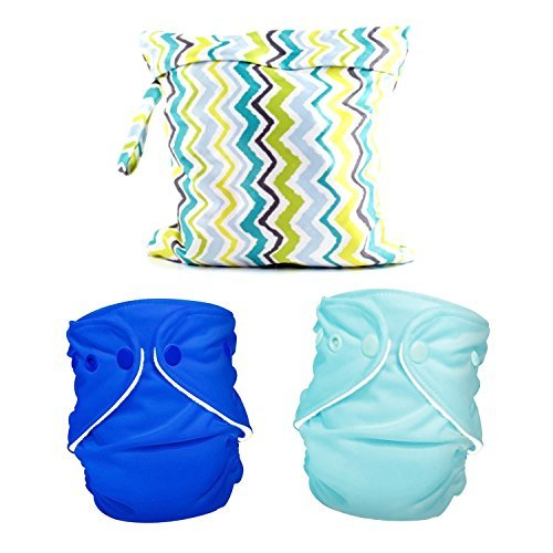 Maven Gifts: FuzziBunz Zippered Tote Bag, Chevron with FuzziBunz First Year Adjustable Diaper, Regatta blue, 6-24 Pound and FuzziBunz First Year Adjustable Diaper, Calypso, 6-24 Pound