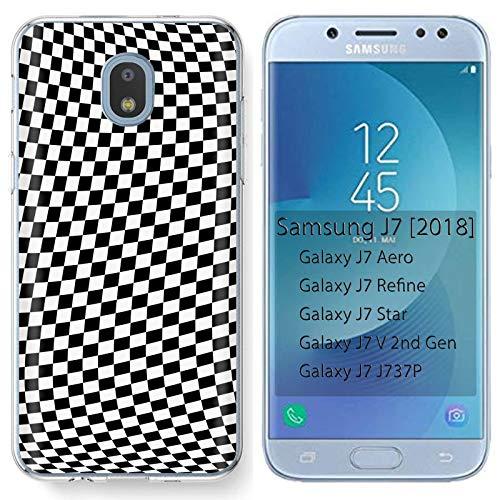([Mobiflare] Samsung Galaxy (J7 2018) (J737) [J7 Aero / J7 Star / J7 Refine / J7 Top,] Ultraflex Thin Gel Phone Cover [Checkers Print])