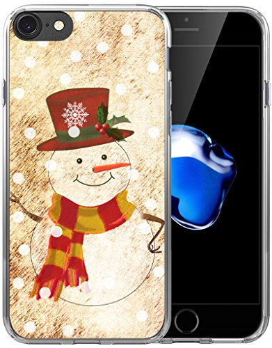 8 Case Christmas Snowman/IWONE Designer Non Slip Rubber Durable Protective Skin Transparent Cover Shockproof Compatible with iPhone 7/8 Christmas Theme Design Cute Scene Story Gift Present ()