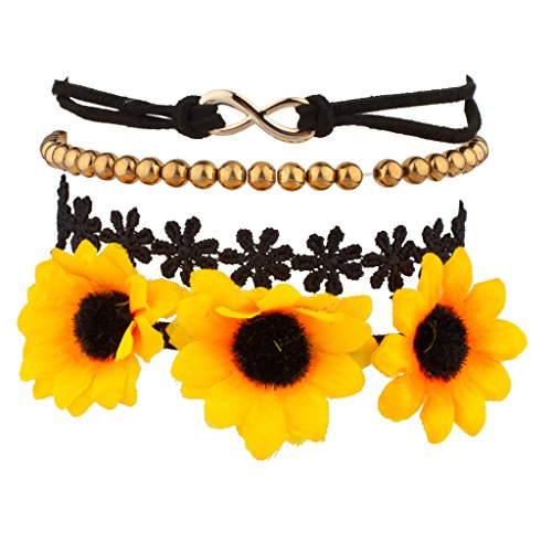 Lux Accessories Sunflower Floral Fabric Beaded Infinity Arm Candy Flower Bracelet Set