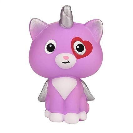 Prevently Toy Juguete para Gatos con alas de Unicornio Creativo y Lento, Aroma a Pan