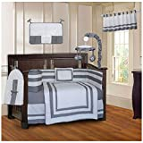 BabyFad Modern Quilted Gray 10 Piece Baby Crib Bedding Set