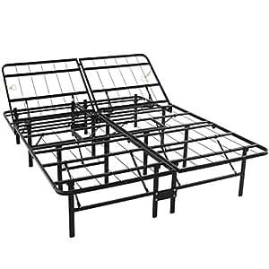 best choice products adjustable platform metal bed frame foldable no box spring. Black Bedroom Furniture Sets. Home Design Ideas