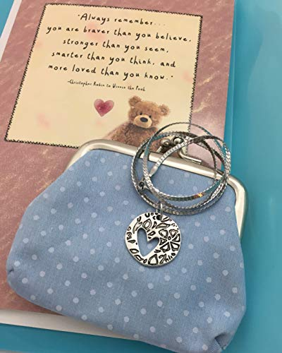 Smiling Wisdom - Love Heart Double Sided Pendant Necklace Gift Set - Pooh Bear Quote - Encouraging Card - Girls, Tween, Teens, Women - SS Chain + Polka Dot Coin Purse - Anytime Gift