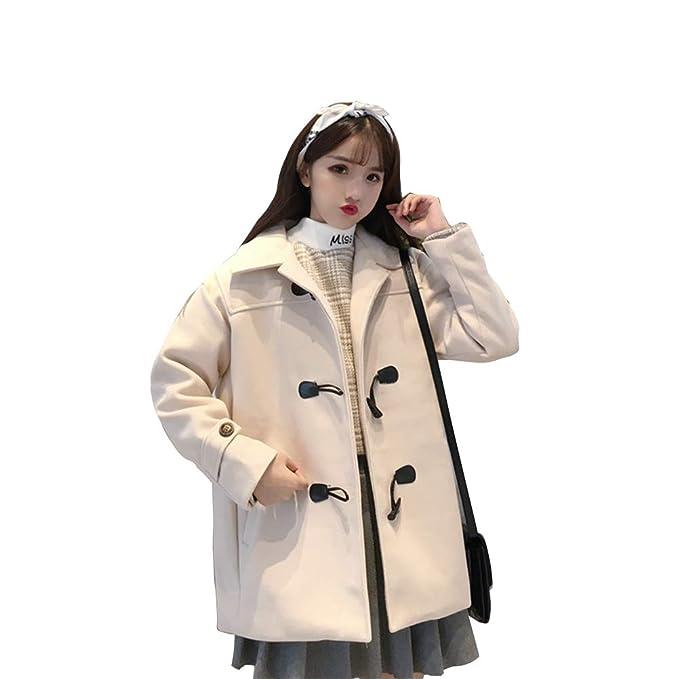 c48b2adf57f XiuG Women's Warm Long Sleeve Lapel Solid Color Horn Buckle Mid Long Woolen  Coat Tops Outerwear