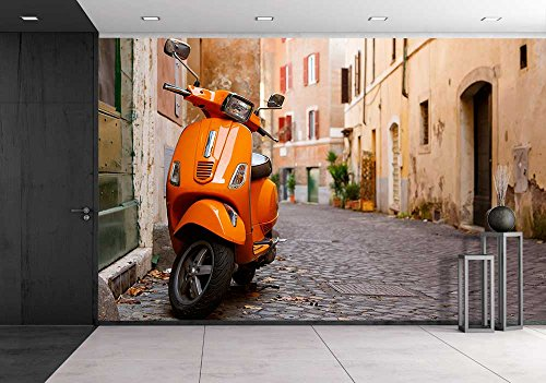 Wall26   Old City Street With Motorbike In Rome  Italy  On Sunny Autumn Or Spring Day   Removable Wall Mural   Self Adhesive Large Wallpaper   66X96 Inches