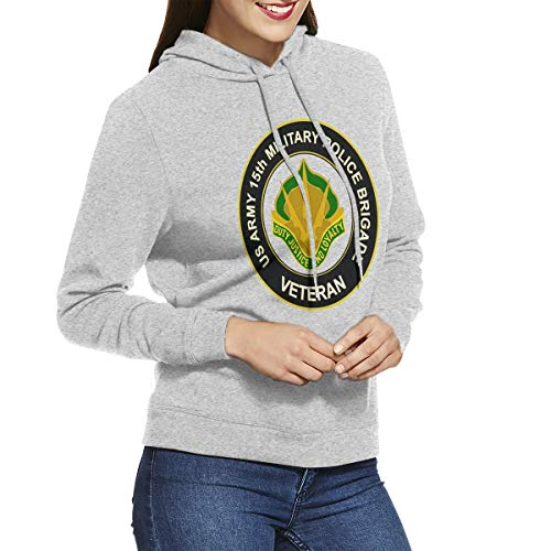 U.S. Army 15th Military Police Brigade Unit Crest Veteran Womens Long Sleeve Pullover Hoodie Sweatshirts Gray