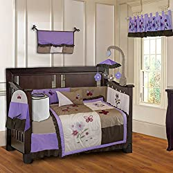 BabyFad Purple Blossom 10 Piece Baby Girl's Crib Bedding Set