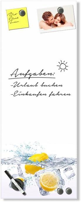 Planungstafel f/ür K/üche Orange Magnetwand Hochformat // 20x60cm Schreibtafel Wei/ß GRAZDesign Magnettafel Glas K/üche f/ür Notizen