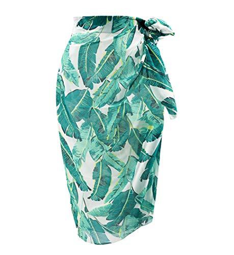 (Sanchy Women's Plus Size Bathing Suit Cover Up Beach Sarong Green Banana Leaf Plus Size)