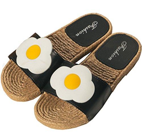 Flax Summer Kedera Outdoor Women Indoor Anti Scandals Shoes Black Slip Slippers Open Linen Yolk Toe XRqXz