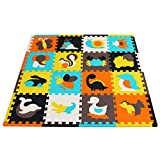 meiqicool Baby Crawling Mat Puzzle Play Foam Tiles Non Toxic Playmat Floor Mats for Tummy Time,JS049Z3010