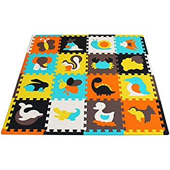 Meiqicool Puzzle Play Mat With Fence Baby Crawling Mat