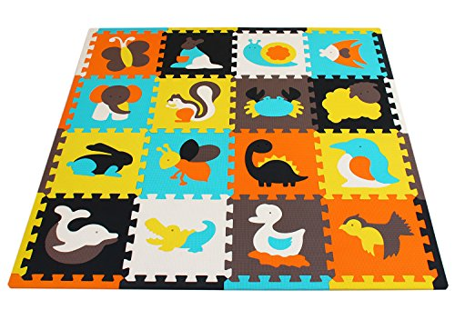 (meiqicool Baby Crawling Mat Puzzle Play Foam Tiles Non Toxic Playmat Floor Mats for Tummy Time,JS049Z3010 )