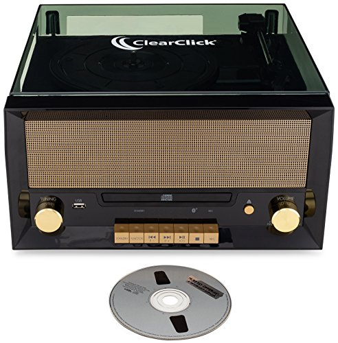 ClearClick All-in-One Turntable with CD Player, FM Radio, Bluetooth, Aux-in, & USB - Vintage Retro Modern Design (Black) 5