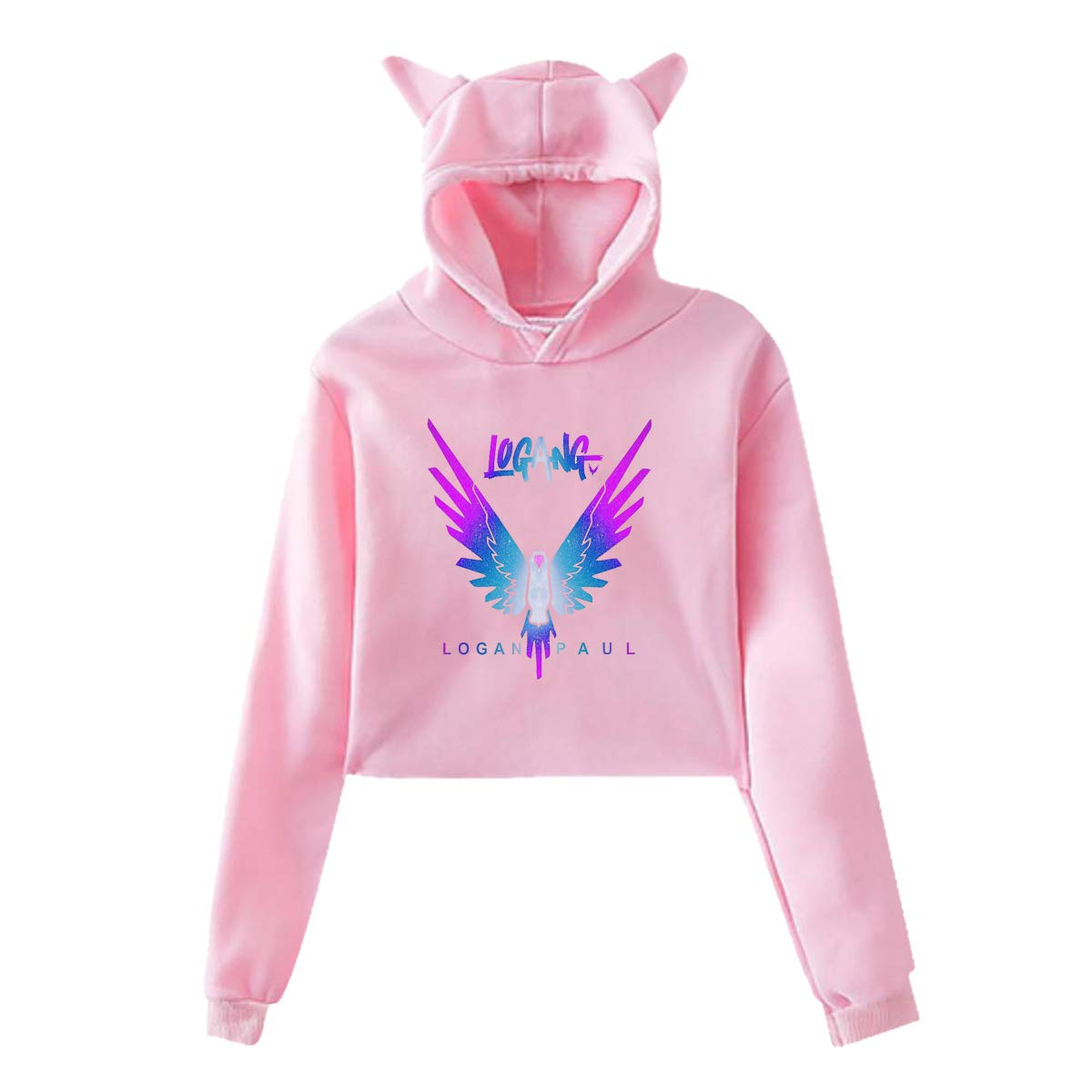 Youth Girls Hoodie Jake Paul Logang Logan Paul Maverick Cat Ear Sweatershirt Long Sleeve Crop Top Hoodies for Girls Pink L by BKashy
