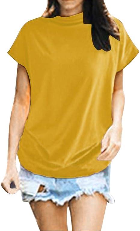 SMILEQ Camiseta para Mujeres Talla Grande Cuello Alto Chaleco de Manga Corta Blusa con Parte Superior de algodón Informal sólido: Amazon.es: Deportes y aire libre