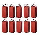 Homanda Pack of 10 Red Kraft Paper Wine Tote Bag-2 Bottle