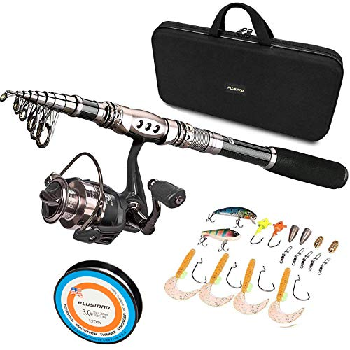 PLUSINNO Fishing Rod and Reel Combos - Carbon Fiber Telescopic Fishing Pole - Spinning Reel 12 +1 Shielded Bearings Stainless Steel BB (Full Kit with Carrier Bag, 1.8M 5.91FT) (Best Time Of Year For Trout Fishing California)