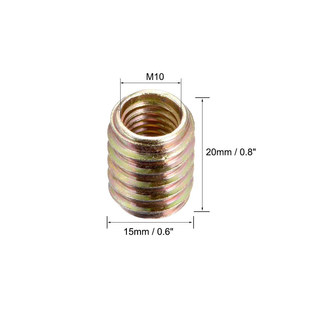 uxcell Furniture Threaded Insert Nuts Carbon Steel M6 Internal Thread 20mm Length 20pcs a18072600ux0238