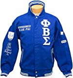 New! Mens Phi Beta Sigma - G.O.M.A.B. Fraternity Racing Style Blue Phi Jacket - X-Large