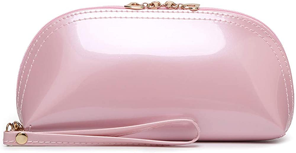 Women Clutch Bag Solid Color Zipper Bright Surface Coin Bag Phone Bag