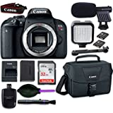 Canon EOS Rebel T7i DSLR Camera Body with LED Light + Microphone + Accessory Bundle