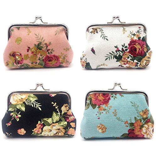 Elesa Miracle 4pc Women Girl Canvas Floral Coin Purse Clutch Pouch Wallet Flower Clutch Purse Value Set