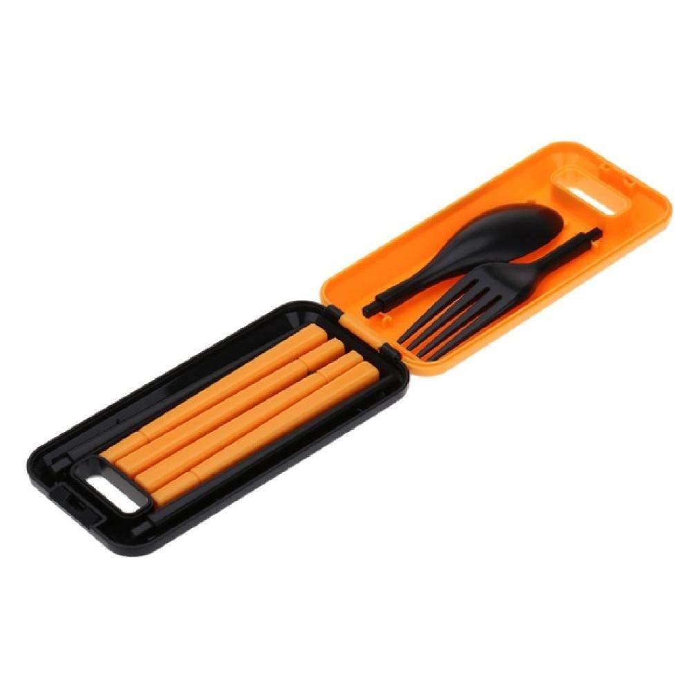 Cutlery Set Fashion Set Portable Travel Kids Adult Cutlery 1 Set Travel Fork Tableware Dinner Sets Camping Picnic Set Gift (Color : Orange) by Sihui