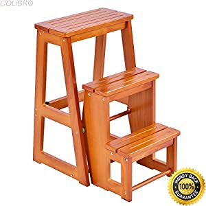 COLIBROX Wood Step Stool Folding 3 Tier Ladder Chair Bench Seat Utility Multi-functional. chair bench for sale. wooden step stools for the kitchen. decorative step stool. fancy step stool.