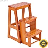 Wooden Folding Chairs for Sale COLIBROX Wood Step Stool Folding 3 Tier Ladder Chair Bench Seat Utility Multi-functional. chair bench for sale. wooden step stools for the kitchen. decorative step stool. fancy step stool.