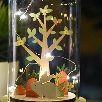 8.7//20cm Luz de Cristal para Arriba en bater/ías de Base de Madera operadas Resorte Natural Victors Workshop Decoracion de Pascua Casa con Luz Led bater/ías no Incluidas