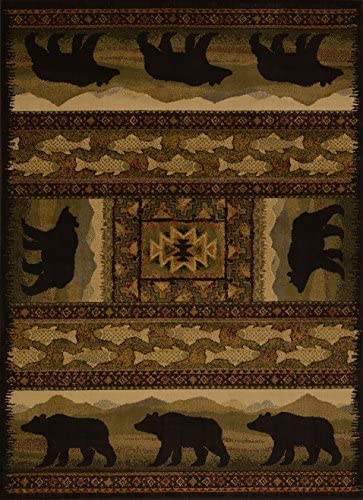 United Weavers of America Affinity Collection Black Bears Rug, 1.10 by 7.2-Feet – Brown
