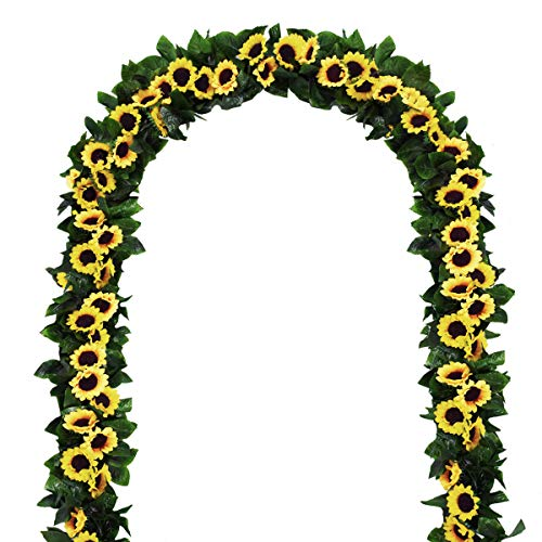 2 Pack Artificial Sunflower Garland Silk Sunflower Vine Artificial Flowers with Green Leaves Wedding Table ()