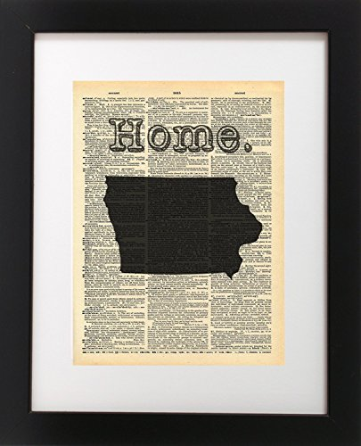 Iowa State Vintage Map Vintage Dictionary Print 8x10 inch Home Vintage Art Abstract Prints Wall Art for Home Decor Wall Decorations For Living Room Bedroom Office Ready-to-Frame (Iowa Map)