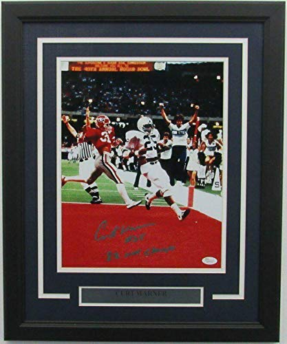 Signed Curt Warner Photograph - PSU Framed 11x14 Color 142130 - JSA Certified - Autographed College Photos
