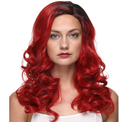 (GOTTA Long Curly Wigs for Women 22 Inch Ombre Black and Red Color Ladies Wig Synthetic Kanekalon Hair Replacement Wig 180℃ Heat Resistant 1 Month Guarantee (22INCH BLACK AND)