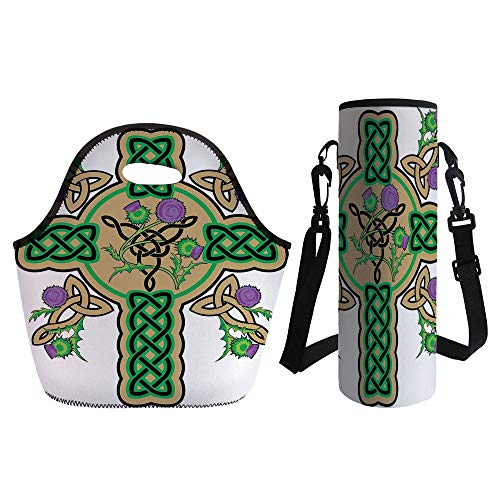 3D Print Neoprene lunch Bag with Kit Neoprene Bottle Cover,Celtic,Celtic Knot Design Christian Cross Icon Wreath Flowers Retro Floral Welsh Pattern,Mustard Green,for Adults (Cup Knot Covers)