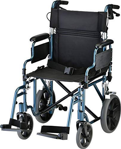 NOVA Lightweight Transport Chair with Locking Hand Brakes, 12' Rear Wheels, Removable & Flip Up Arms for Easy Transfer, Anti-Tippers Included, Blue