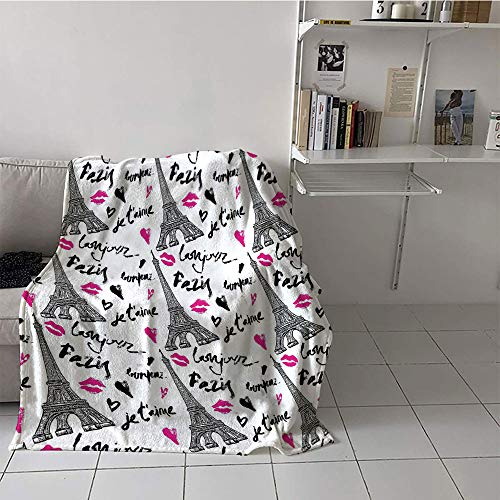 Khaki home Children's Blanket Toddler Print Digital Printing Blanket (60 by 70 Inch,Paris,Eiffel Tower with Lipstick Valentines Heart Quotes Love Touristic Architecture,Black White Pink,