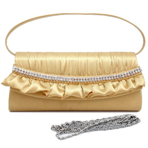 Dasein Pleated Satin Over Front Clutch w/ Rhinestone And Ruffle Trim -Gold