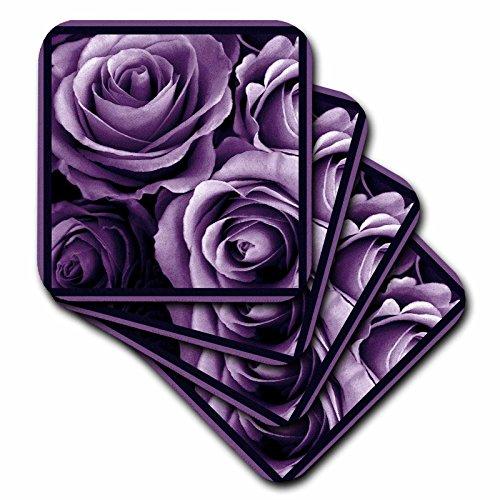 3dRose cst_29807_3 Close Up of Dreamy Lavender Purple Rose Bouquet-Ceramic Tile Coasters, Set of 4