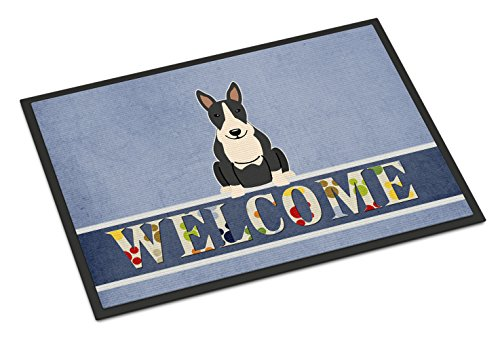 Caroline's Treasures BB5714MAT Bull Terrier Black White Welcome Doormat, 18 x 27, Multicolor (And White Terrier Black)