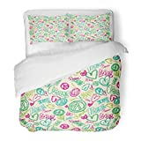 SanChic Duvet Cover Set Sign Doodle Peace Love Words Heart Decorative Bedding Set with Pillow Sham Twin Size