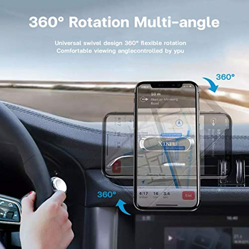 XINFU Mini Magnetic Car Mount Phone Holder 2 Pack 360 Rotation Strong Magnet Cell Phone Holder for car Dashboard Magnetic Mobile Phone car Mount with iPhone 12 11 pro XS max se 8 10 9 Samsung s21 s20