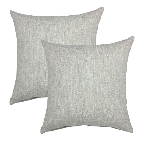 - YOUR SMILE Solid Color Decorative Cotton Linen Throw Pillow Case Cushion Cover Pillowcase for Couch Sofa Bed,18 X 18 Inches (Light Grey,Set of 2)