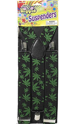 [Adult Hippie Marijuana Suspenders 60s 70s Pot Leaves Weed Costume Prop Accessory] (Lobster Pot Costume)
