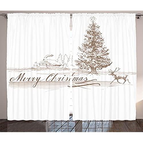 ambesonne christmas decorations curtains by romantic vintage merry christmas scene with reindeer tree star holy religious design living room bedroom decor